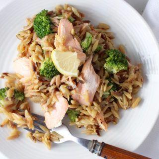 Orzo Risotto, Broccoli & Roasted Salmon | My Delicious Blog