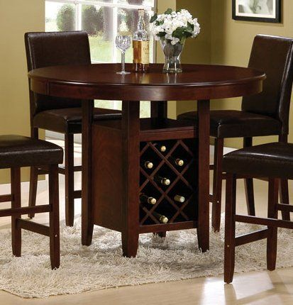 height dining table with wine rack cherry by poundex more dining