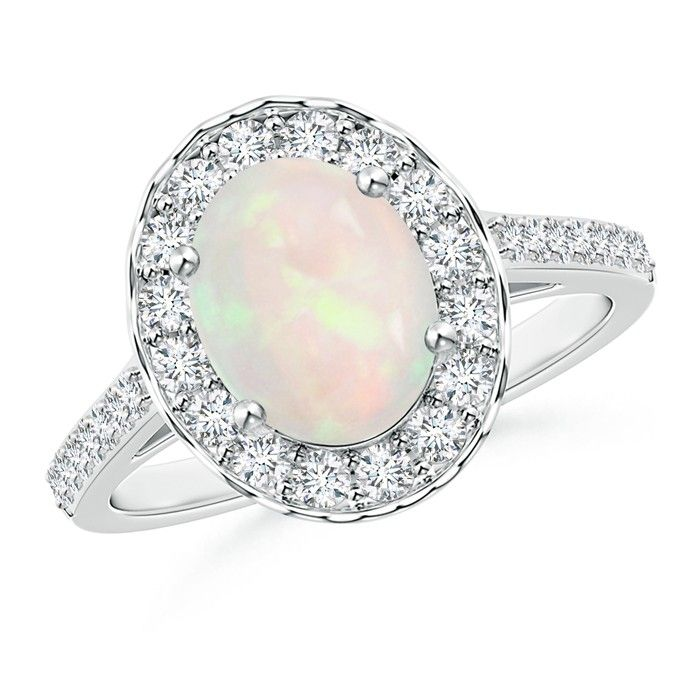 Angara Opal Ring with Diamond Halo in Platinum - October Birthstone Ring