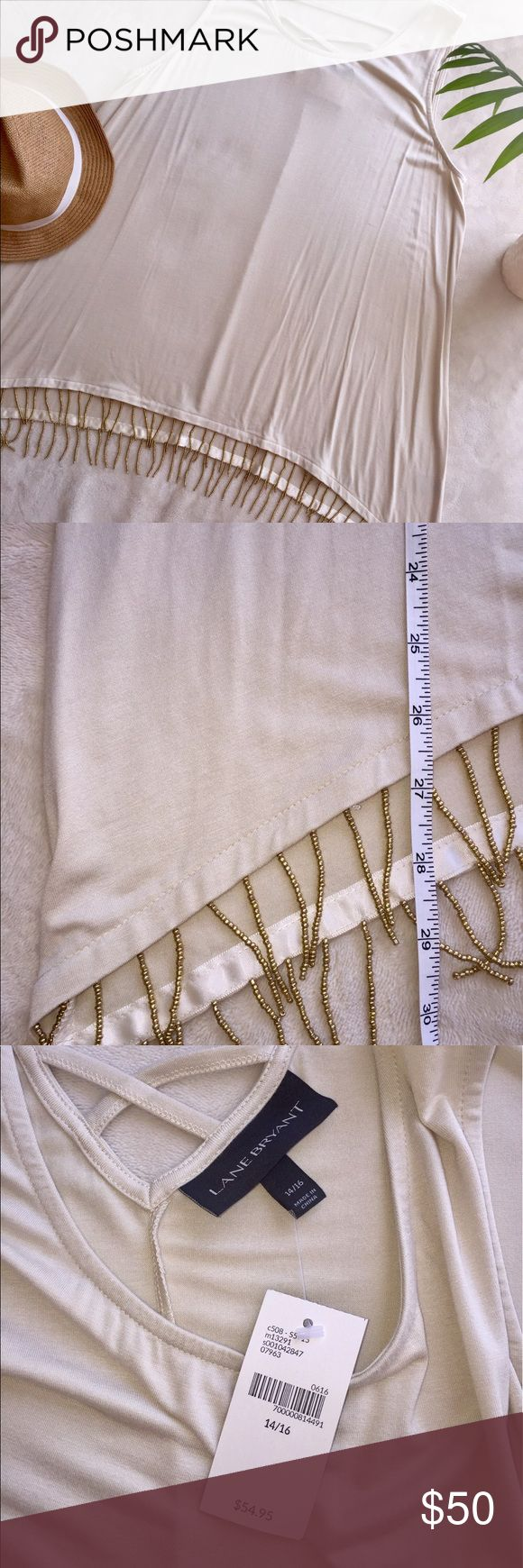 Lane Bryant Top Boho Gold Fringe Trim Taupe Shirt Lane Bryant Cream Top with Gold Fringe trim. Shark bite style with crisscross pattern in back. Completely beautiful Top!! Size 14/16. Lane Bryant Tops Blouses