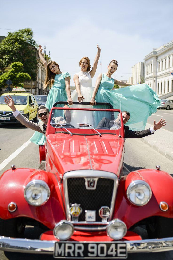 wedding red car