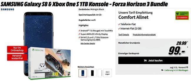 Handy Bundel Samsung Galaxy S8 mit Xbox One S 1TB Konsole - Forza Horizon 3 Bundle für 99,00 Euro zum Vertrag Vodafone Flat Allnet Comfort mit  0,82 Euro rechnerische monatliche Grundgebühr mit Allnet-Gesprächsflat in alle Netze und einer 2 GB LTE Internet-Flatrate bis 42,2 Mbit/s im Netz von Vodafone.