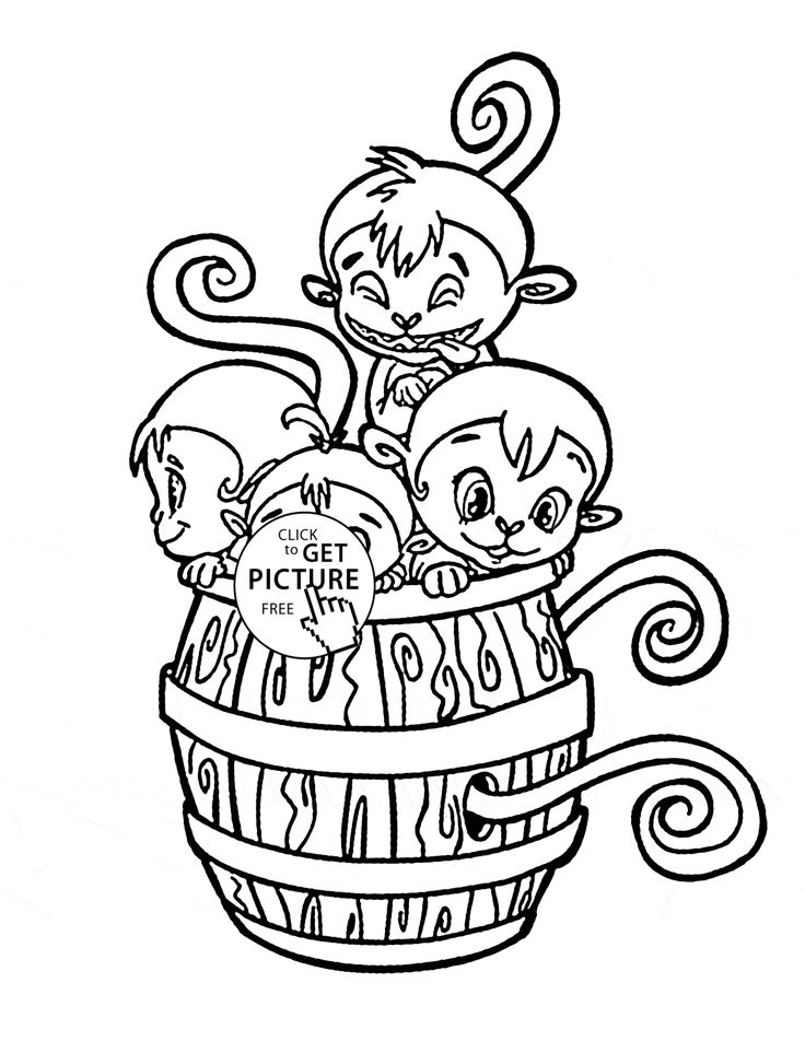 Baby Monkey Coloring Pages Free Printable For Kids Of Pictures