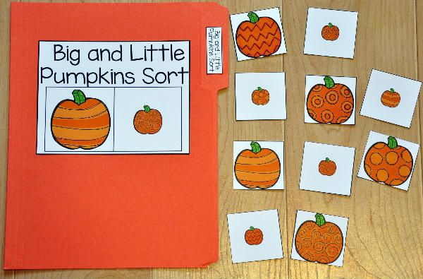 The Big and Little Pumpkins Sort File Folder Game focuses on basic sorting skills.  In this file folder game, students sort pumpkins by size.