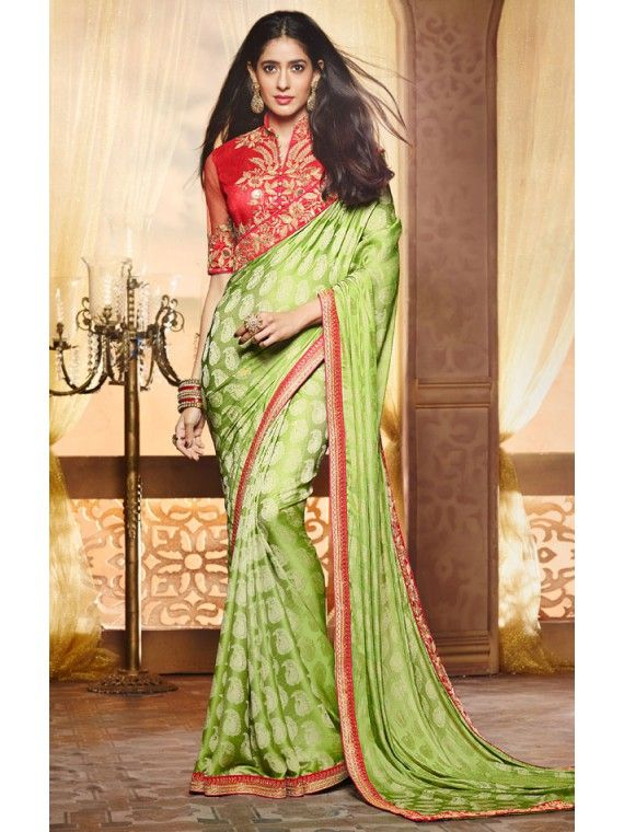 Admirable Shaded Parrot Green and Peach Combination Designer Saree