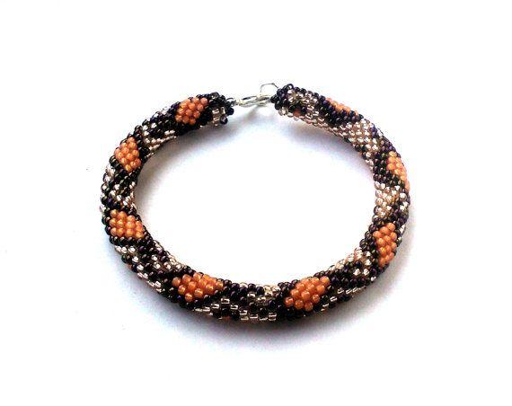 Snake Bracelet  Toho Crochet Beaded Jewelry by DeerestJewelry