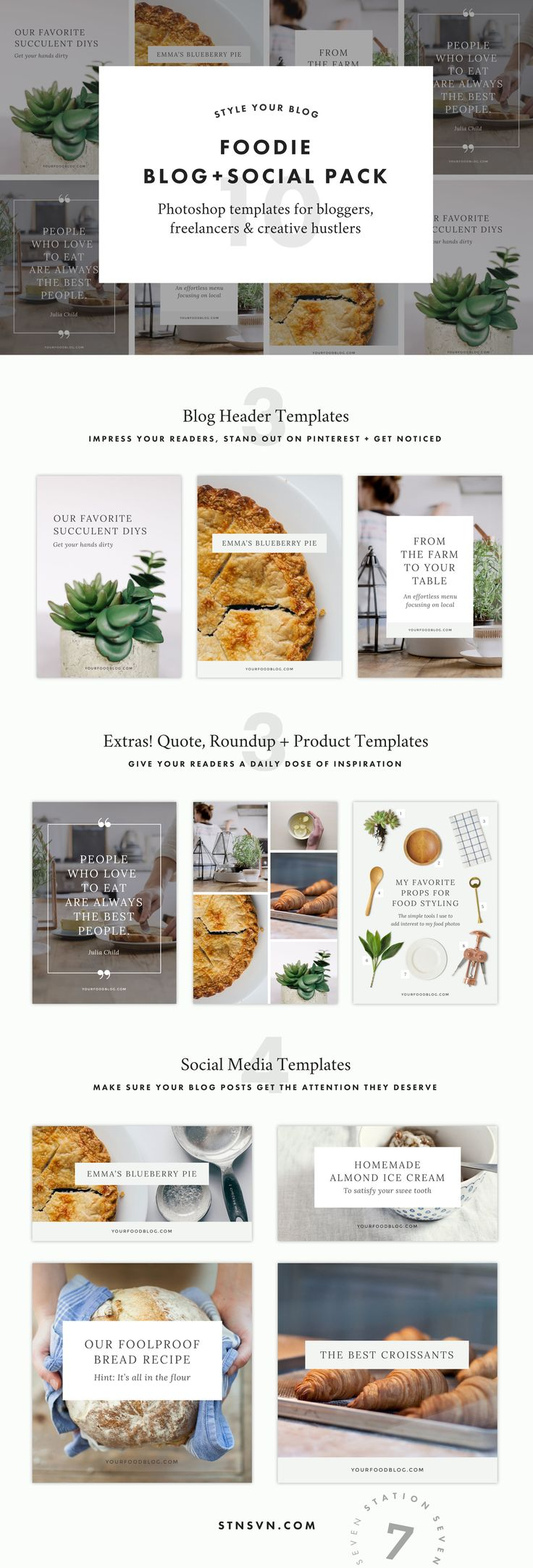 Foodie Blog + Social Graphic Pack. Say hello to gorgeous, minimalist graphics that hook your readers. Create the perfect templates for your Pinterest, Instagram, and blog headers and images.