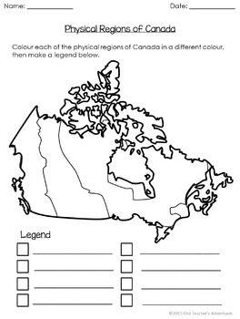 Map Of Canada For Grade 3.No Prep Physical Regions Of Canada Mini Unit For Grades 3 5 Canada