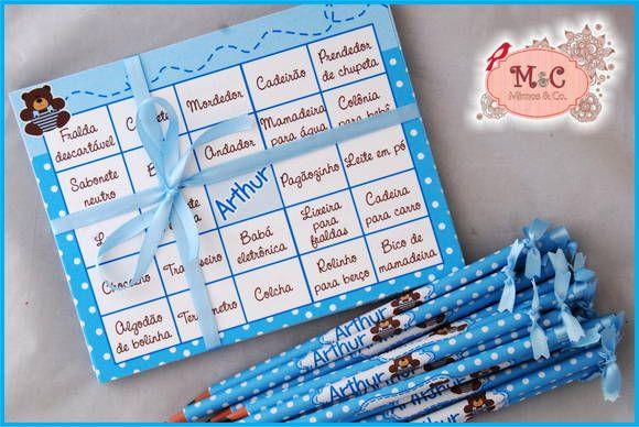 Cartelas para Baby Bingo, tema Ursinho Poá branco e azul Ótima opção para brincadeiras em chá de bebê, chá de cozinha, encontro de mulheres e etc. Cartelas personalizadas com o nome da sua(o) bebe na parte central, as lacunas são com nomes de acessórios para bebês, As folhas podem ser em outros temas, na cor que desejar, Para um jogo com 30 folhas acompanha lápis com personalização. O tamanho é de 13x14 aprox. Impresso em papel opaline 180gr Pedido mínimo de um jogo com 20 cartelas R$ 2,50
