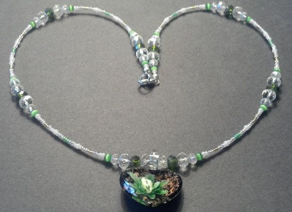 23 inch handmade green and clear crystal Murano by MGBeadCreations, $40.00