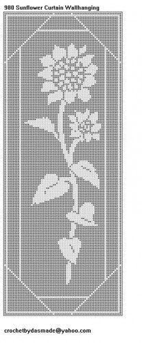 980 Sunflower Filet Crochet Doily Tablemat Curtain Pattern | CROCHETBYDASMADE - Patterns on ArtFire