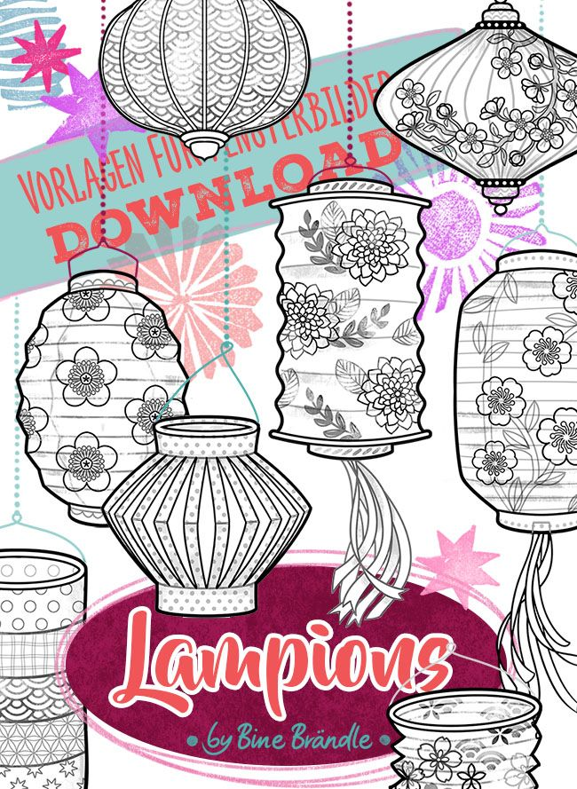 Bines Shop Downloads Lampions Fensterbilder Lampion Basteln