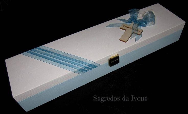 AB14- Caixa de vela de batismo pintada e decorada