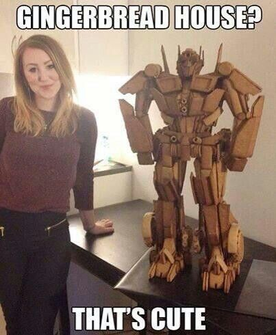 """Caroline Erickson of Norway, Optimus Prime gingerbread """"house"""".  I bet this results in at least 1 marriage  proposal. Autobots, pig out!"""