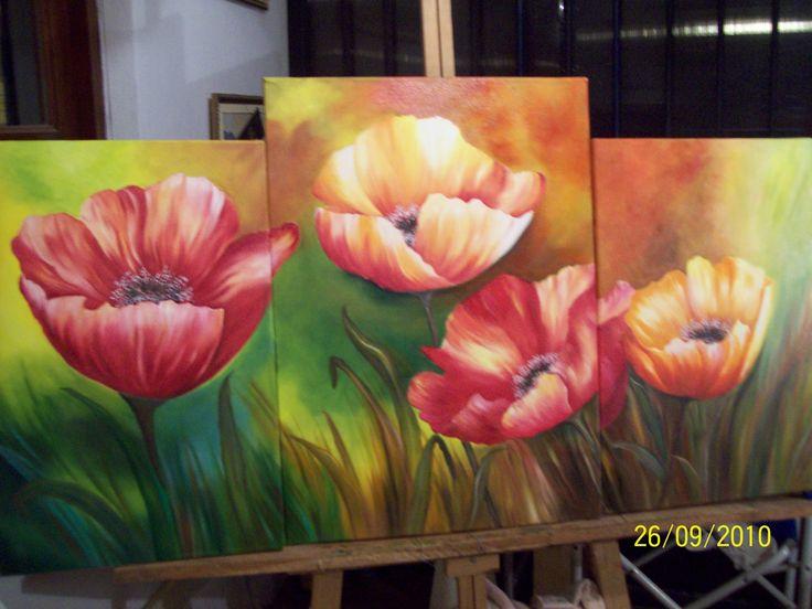 triptico de flores realizado al oleo