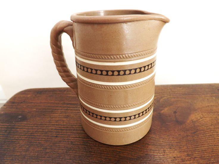 Antique Milk Jug 1880, Small Pitcher,  Stoneware Creamer, Brown Jug, Vintage Victorian Kitchen Serveware, Dudson Staffordshire England by CuriosAnCollectibles on Etsy