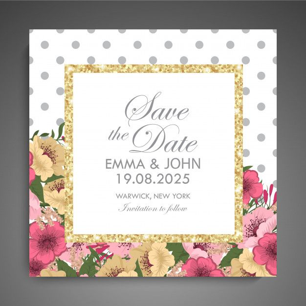 Download Wedding Invitation Card Suite With Flowers Template