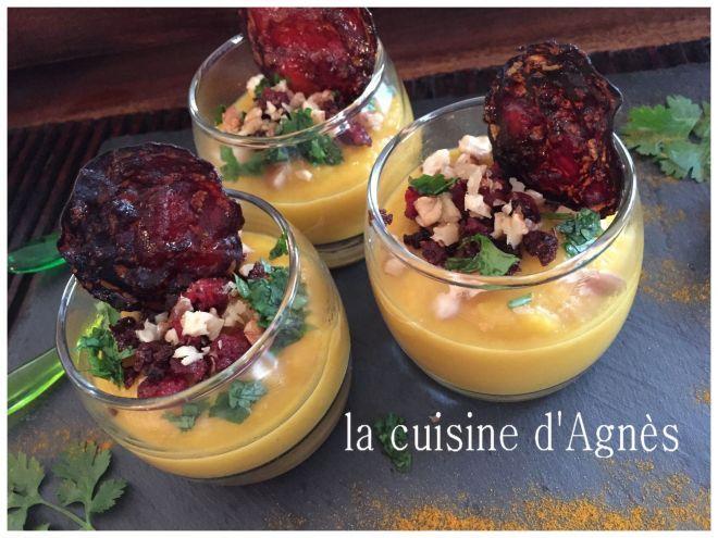 Recette Entrée : Velouté de butternut chorizo noix par Agnes.f
