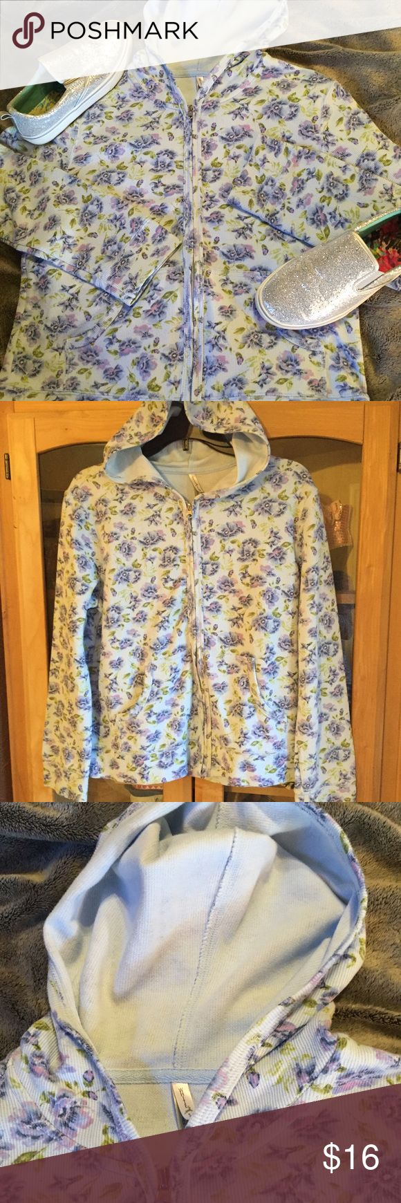 Cute blue and purple floral zip up hoodie Adorable floral print, blue and purple, hooded and 2 front pockets. Excellent condition from non smoking home. Tops Sweatshirts & Hoodies