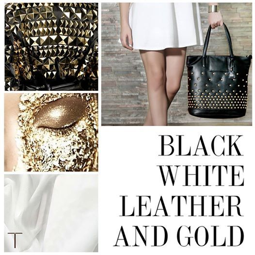 Black, white leather and gold- let's go back to the basics! www.shoptaws.com
