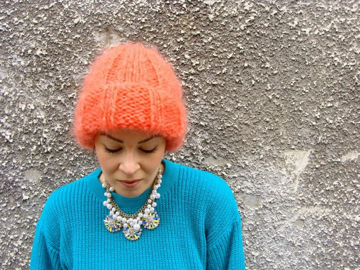 Nudakillers - Mohair Beanie coral, handmade, knitted