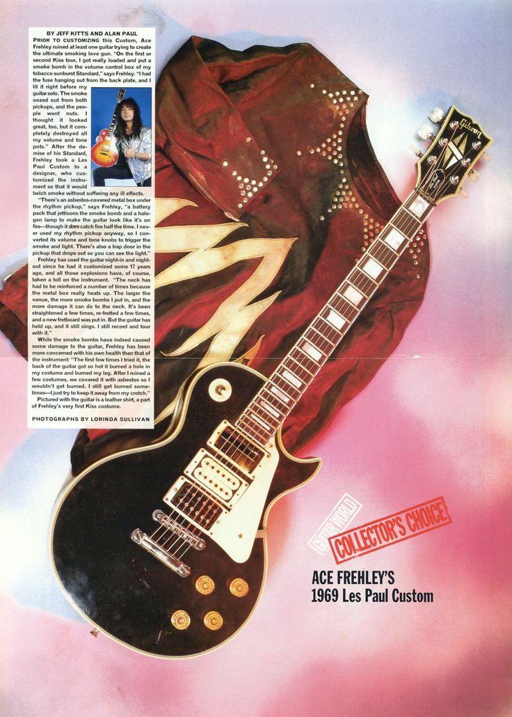 1969 Les Paul Custom Guitar Poster - Ace Frehley - Kiss - Retro Music Poster - Rock N Roll - Music Ephemera - Vintage Music Decor by MusicSellerz on Etsy