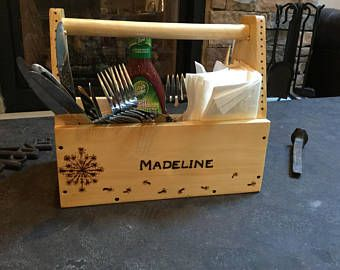 Custom Personalized On-The-Go Utensil Flatware Table Caddy Tote