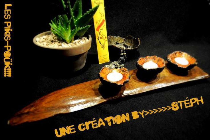 Bougeoir bois et coupelles en ciment.  http://spmt.artblog.fr
