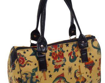 Medico borsetta borsa Satchel stile teschi tatuaggi Alexander Henry tessuto cotone tessuto Bag borsa, nuovo