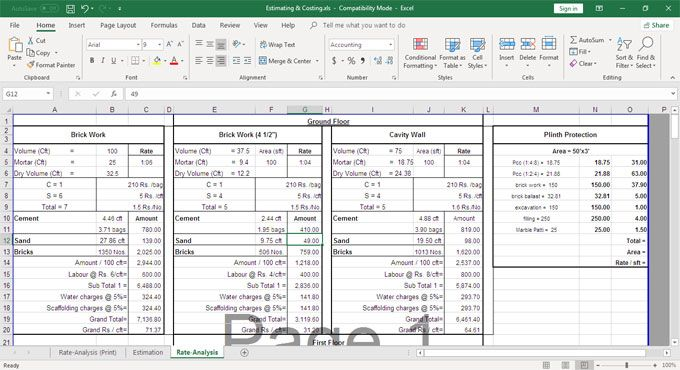 Download The Excel Sheet To Make Analysis Of Rates Of Building