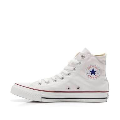Converse a/s Canvas Hi-top in Optical White. Also Available in infant sizing