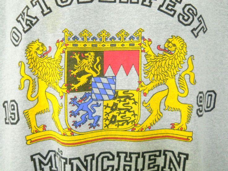 Oktoberfest 1990 Munchen Gray Tee Shirt Large Lions Crest Beer Festival Germany #ScreenStarsBest #GraphicTee