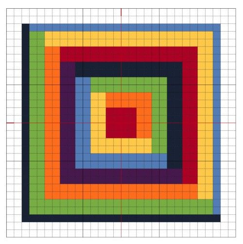 Another cross stitch Rainbow Block - number six in my series of nine free charts.