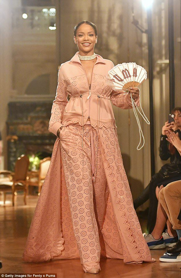 Pretty in pastel: Rihanna took to the catwalk during the collection's unveiling at Paris F...