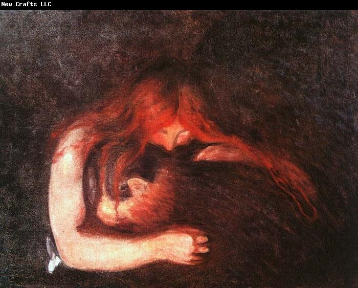 Edvard Munch Vampire. He actually called it 'Love And Pain' but someone later thought it looked like the woman was biting the man's neck.