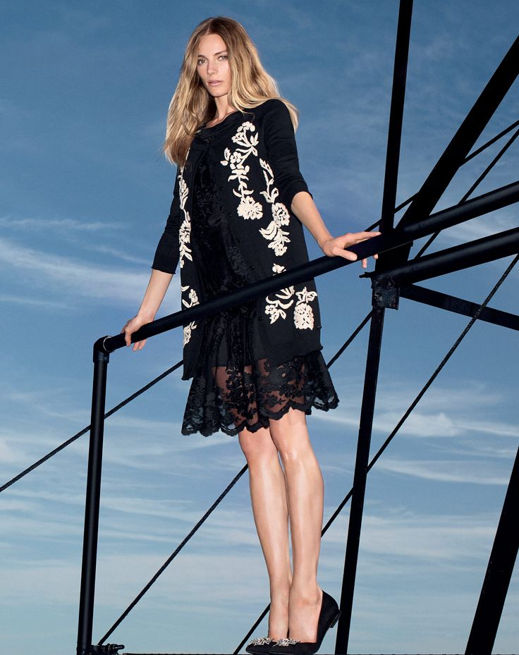 TWIN-SET Simona Barbieri: Embroidered cardigan with lace blouse and embroidered skirt, bow ballerinas