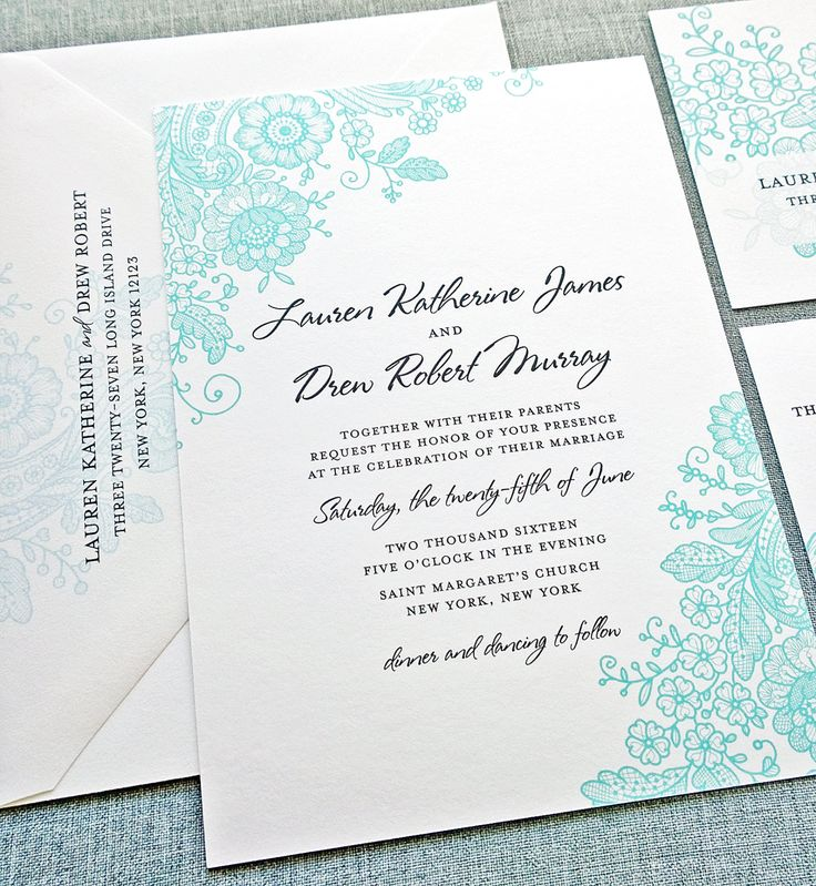 Lauren Teal Lace Wedding Invitation Sample By Cricketprinting