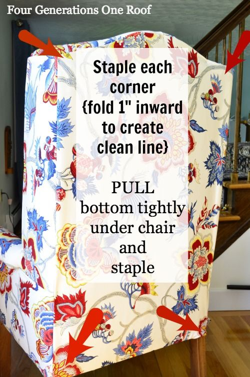 No Sew: How to reupholster a chair using a staple gun. Quick and easy way to give an old tired chair a new look.
