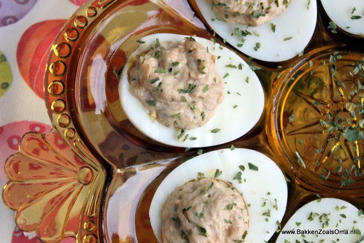 Gevulde Eieren met tonijn | Bakken Zoals Oma