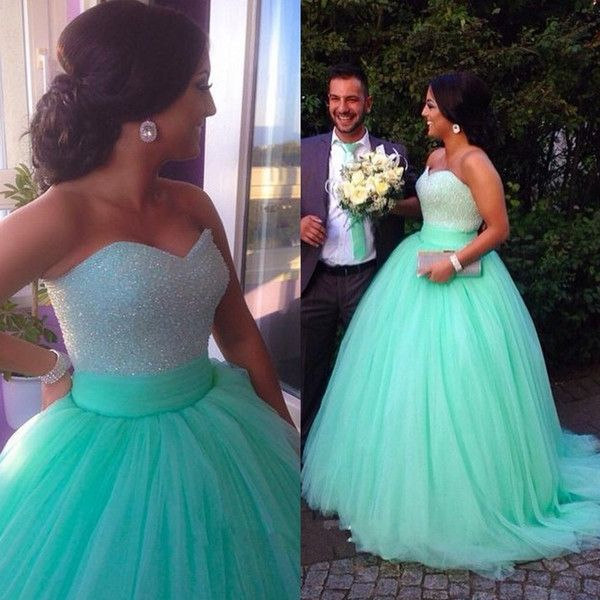 Wholesale Ball Gowns Long 2015 Mint Green Quinceanera Dresses Sequins Beaded Sweetheart Bodice Corset Mint Prom Dress 2015 Sparkly Pageant Dress, Free shipping,
