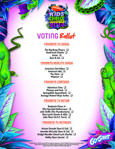 Ballot Form for Nickelodeon Kids' Choice Awards Party