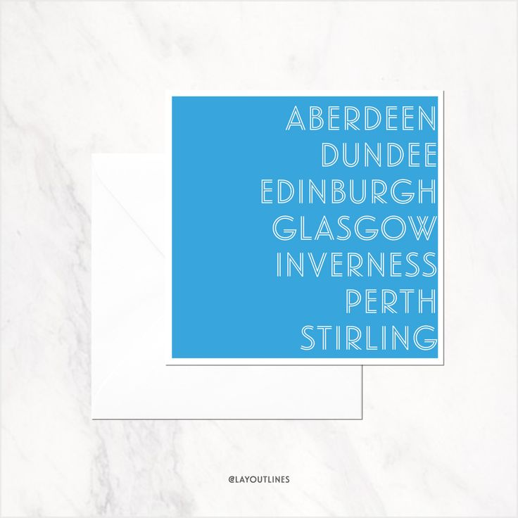 Scottish Cities greeting card blank inside by shopLAYOUTLINES