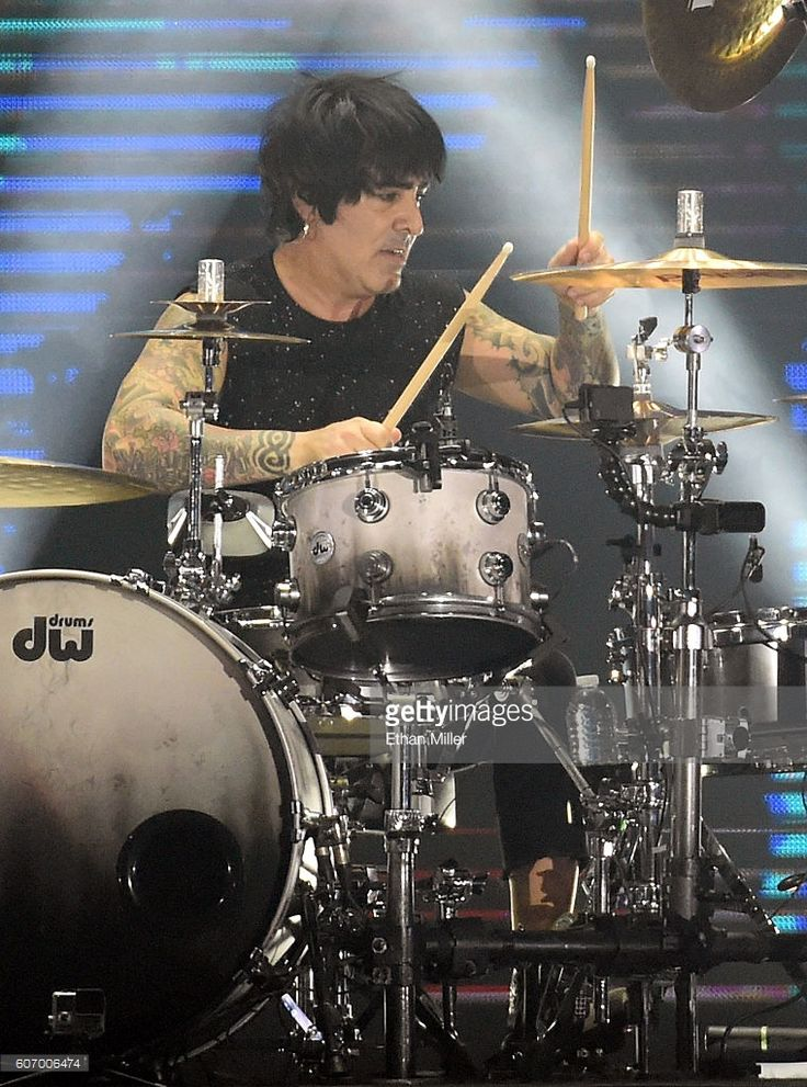 Drummer Alex Gonzalez of Mana performs during a stop of the band's Latino Power Tour at MGM Grand Garden Arena on September 16, 2016 in Las Vegas, Nevada.