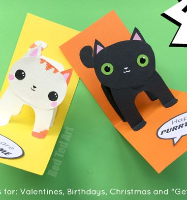 Easy DIY 3D cat pop-up card - halloween card // Egyszerű papír cica képeslap - halloween meghívó gyerekeknek // Mindy - craft tutorial collection // #crafts #DIY #craftTutorial #tutorial #HalloweenCrafts #Halloween #DIYHalloweenDecor #DIYHalloweenCostumes