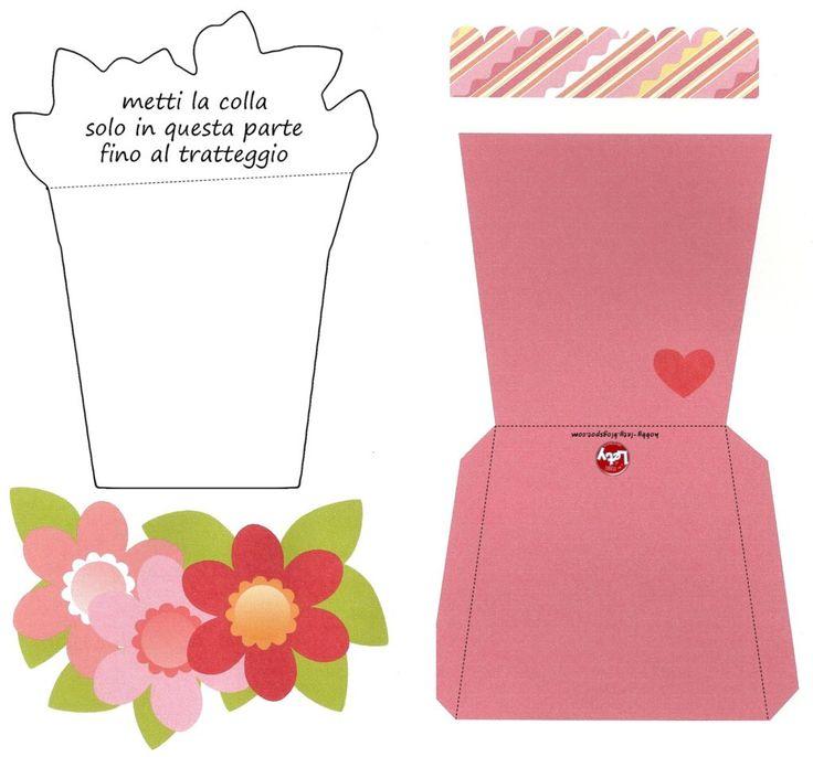 Подписать, открытка горшок с цветами шаблон на день матери