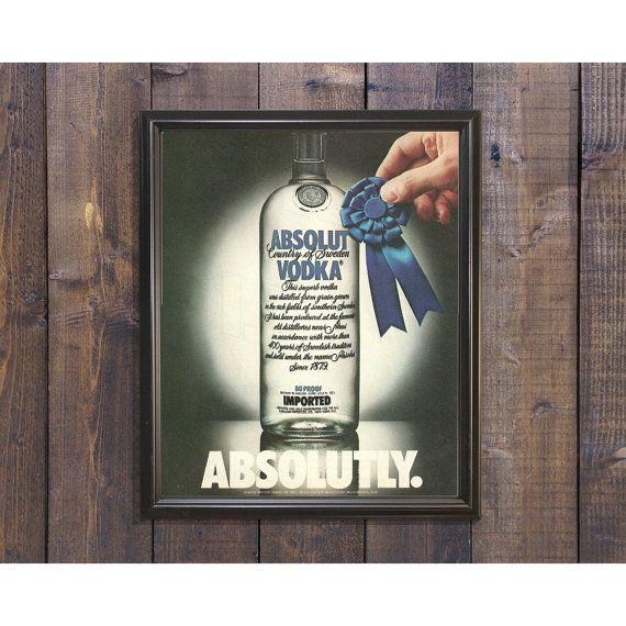 Absolut Vodka 1980s Ad | Swedish Grain Spirits 80s Advertising | Blue Ribbon Award | 80 Proof Vodka Classy Ad | 1984 Retro Bar Wall Decor by RetroPapers