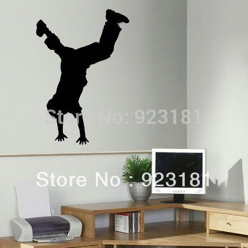 Goedkope Gratis verzending boy hip hop dance gratis running muurstickers decal diy decoratie wall mural verwisselbare kamer sticker 80x55 cm, koop Kwaliteit muurstickers rechtstreeks van Leveranciers van China: gratis verzending jongen hip hop dance free running kunst aan de muur stickers sticker diy home decoration muurschilderi
