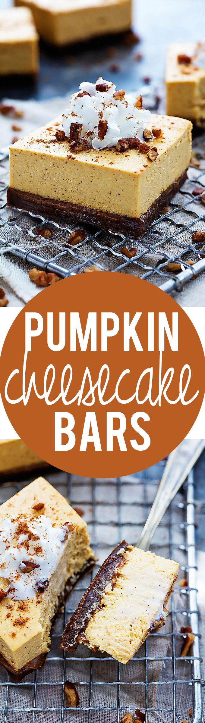 Pumpkin Cheesecake Bars with Gingersnap Crust | Creme de la Crumb