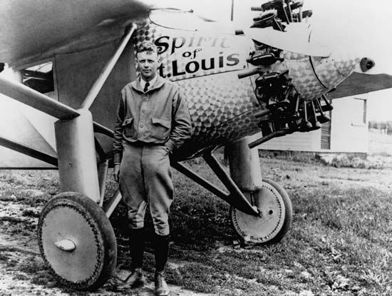 Charles Lindbergh and the Spirit of St. Louis, 1927. Plane built by Ryan Airlines, San Diego.
