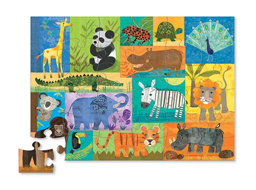 This beautiful jungle themed puzzle includes 36 jumbo pieces that are easy for little hands to assemble! A floor puzzle like this is excellent for learning and play, as well as great practice for hand-eye coordination, logic and problem solving skills! Comes in a fun-shaped storage box. Contains 36 colourful puzzle pieces depicting 15 different animals! Age 3+. #CrocodileCreek #CamelotKids #JunglePuzzle